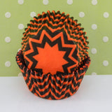 Black & Orange Chevron Print Cupcake Liners