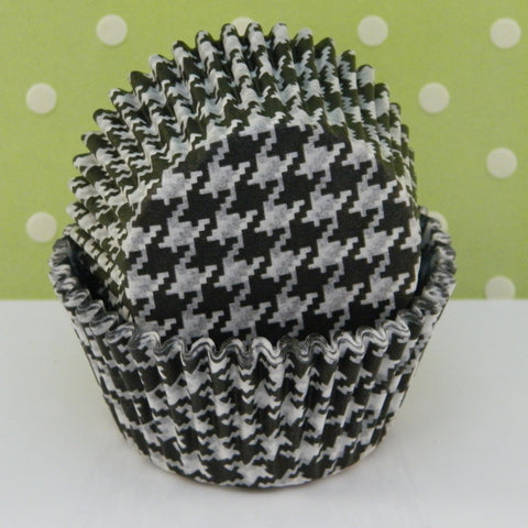 Black Houndstooth Cupcake Liners