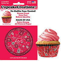 Red Bandanna Cupcake Liners