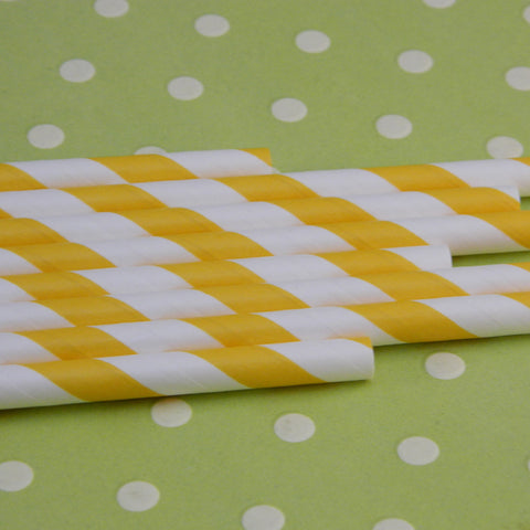 Yellow Striped Paper Straws with Flags