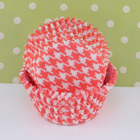 Red Houndstooth Cupcake Liners