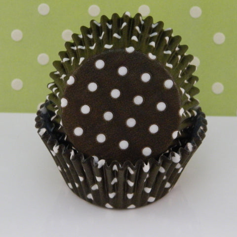 Brown with White Dots Cupcake Liners