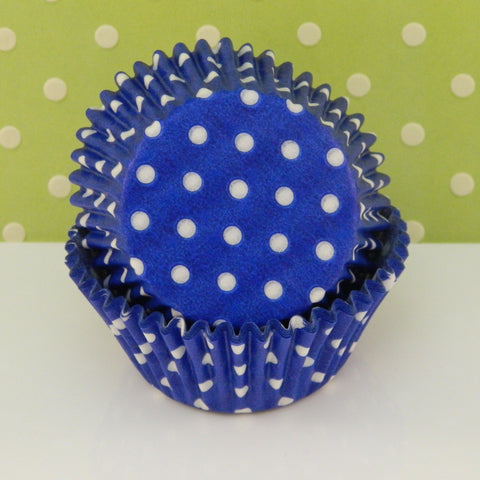 Royal Blue with White Dots Cupcake Liners