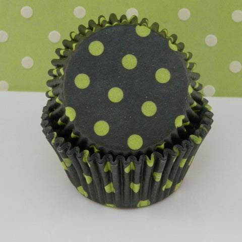 Black with Lime Green Hot Dots Cupcake Liners