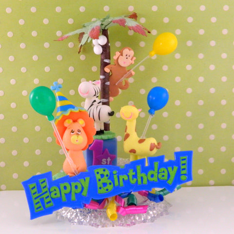 Jungle Animals First Birthday Cake Topper