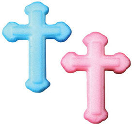 Pink or Blue Cross Sugar Pieces