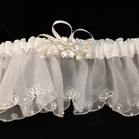 Beautifly White Garter with Pearlized Flower and Rhinestone Center