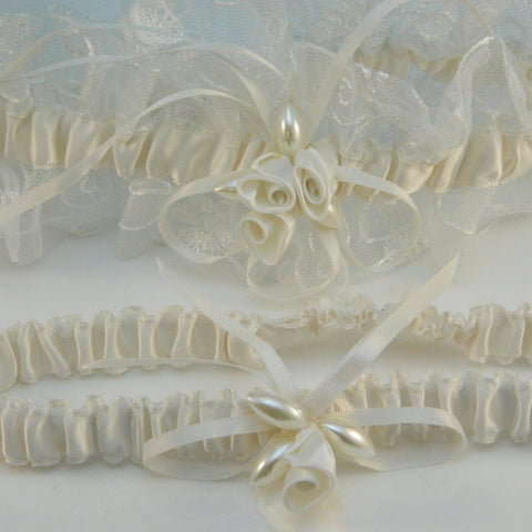 Bridal Garder Set with Satin rolled Roses and Pearls