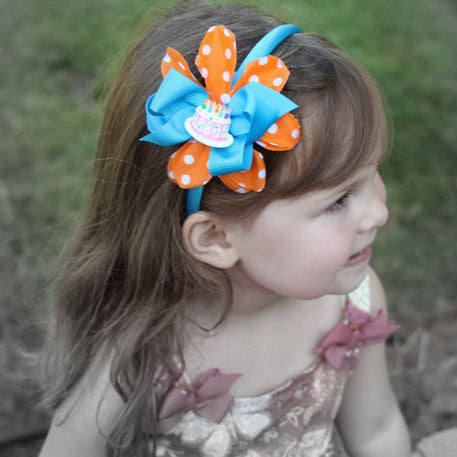 Birthday Cake Blue & Orange Headband