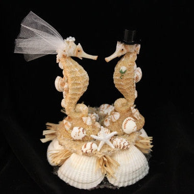Sea Horse Beach Inspired Bride & Groom Cake Topper / Decoration / Cake Top / Shells