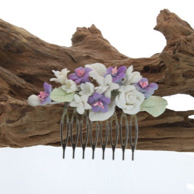 Purple and Ivory Flower Bridal Hair Comb