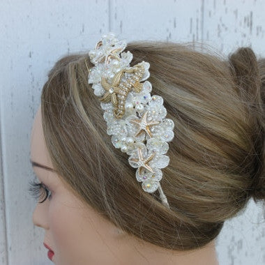 Gold and Ivory Starfish and Seahorse with Pearls and Sequins Bridal Headpiece