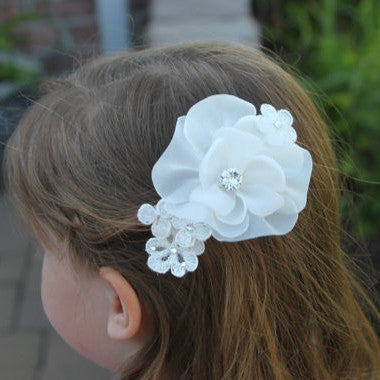 Bridal White Flower Hair Clip with Rhinestones
