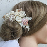 Iridescent Seashells with Floating Starfish and Fresh Water Pearls Bridal Hair Piece