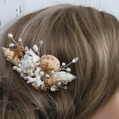 Seashell and fresh water pearls bridal comb hair comb for Seashells for hair