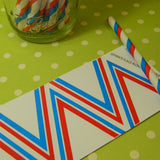 Red & Blue Striped Paper Straws w/ Flags