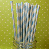 Light Blue Striped Paper Straws w/ Flags