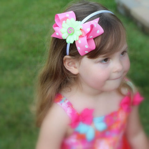Pink and Green Swirl Lollypop White Headband