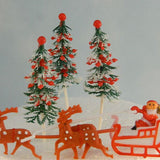 Vintage Santa with Reindeer and Christmas Trees Cake Topper