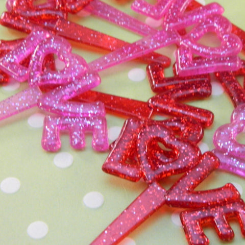 "Glitter ""LOVE"" Cupcake Picks"