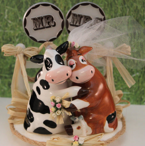 Bride & Groom Cow Wedding Cake Topper Barn Yard