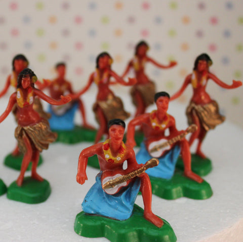Vintage inspired Hawaiian Dancers Cupcake Toppers