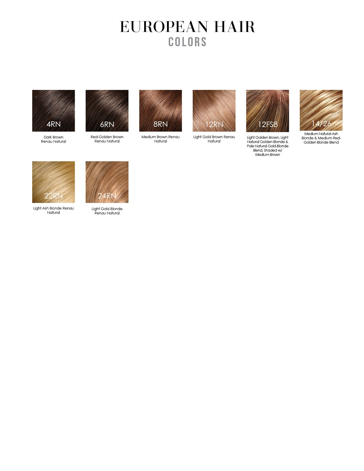 Jon Renau European Human Hair Wig Colors