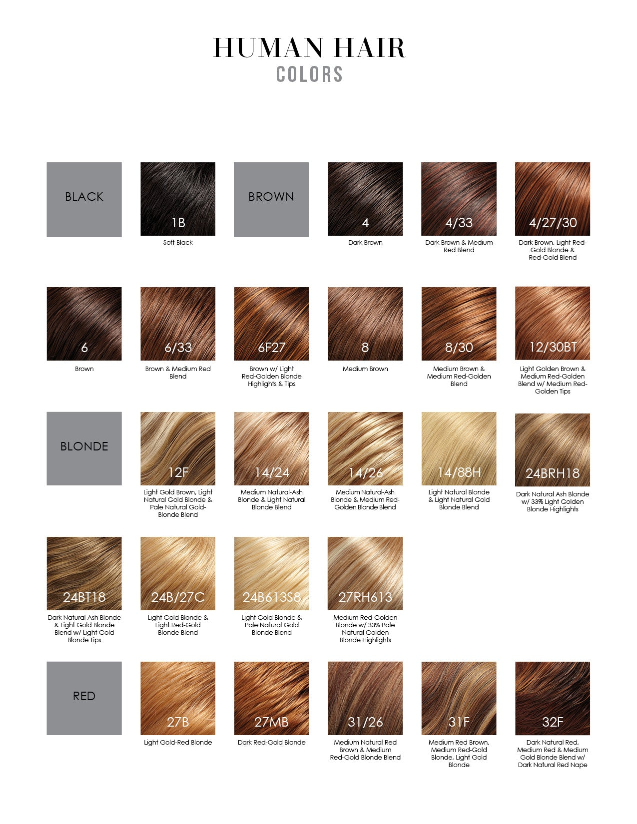 Jon Renau Human Hair Wig Colors 1