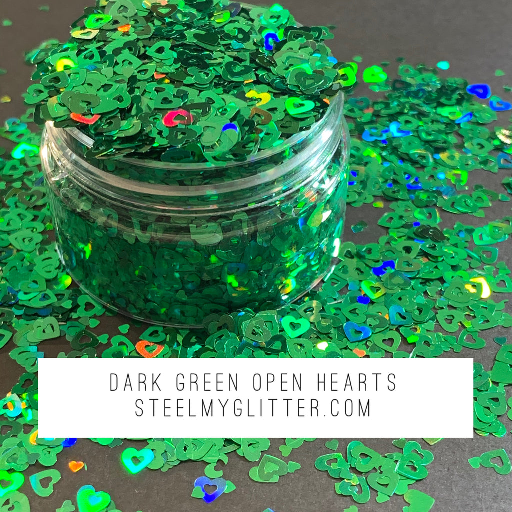 DARK GREEN OPEN HEARTS