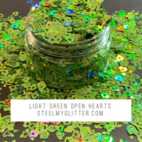 LIGHT GREEN OPEN HEARTS