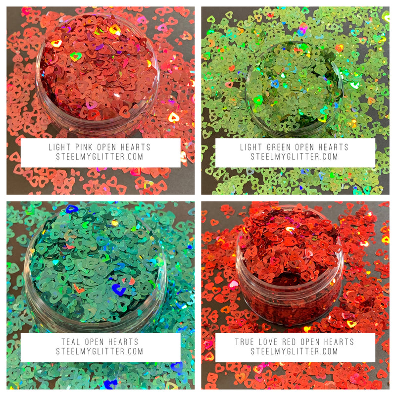 OPEN HEART BUNDLE PACK 43.00!!! FOR 12 GLITTERS!!!