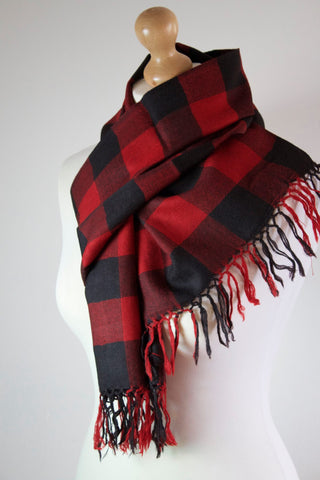 Pure 100% Wool, Red Burgundy Block Muffler