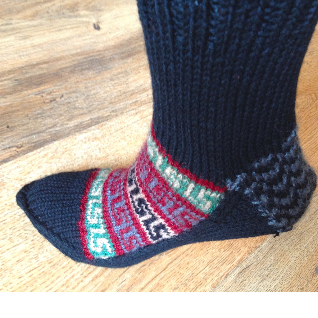 Woolen Socks, Charcoal Black with Vibrant Colour Pattern