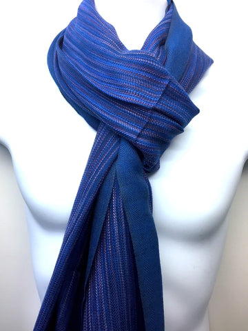 Pure 100% Wool, Rich Blue, Soft Pattern, Stole