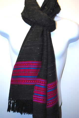 Lambswool & Yak wool Blend. Black with subtle white fibre and a masterfully woven pink and blue edge pattern