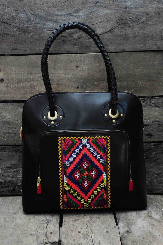 Hand Bag Traditional Himalayan Pattern on Faux leather