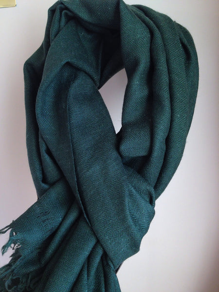 Angora Wool, Pine Green, Hand Loom made, Scarf