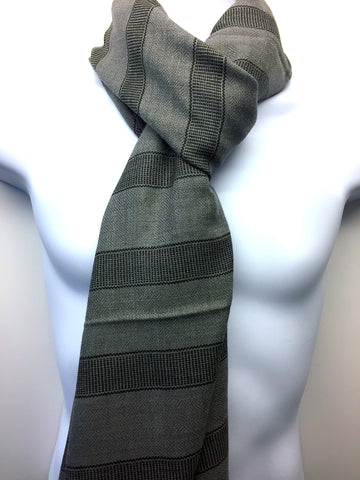 Pure 100% Wool, Steel Grey Stripe, Hand-loom made, Muffler