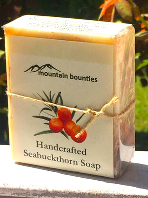 Seabuckthorn herbal soap, cold pressed, Handmade, 100% Natural, Moisturising for face, hands and hair, Recommended for prematurely aged skin, sensitive, inflamed and dry skin. Cold pressed, 100% natural, handmade, Natural Skin Care, Natural oils, Skin Care, Himachal Oils, Himalayan Salt, Mountain Bounties, Himalayan people Care, Cold Pressed