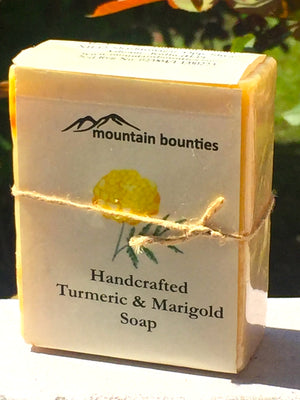 Turmeric & Marigold Soap, handmade cold pressed, 100% natural, 100% Handmade, Cold Pressed, herbal soap, cold pressed, Handmade, 100% Natural, Moisturising for face, hands and hair, Recommended for prematurely aged skin, sensitive, inflamed and dry skin. Cold pressed, 100% natural, handmade, Natural Skin Care, Natural oils, Skin Care, Himachal Oils, Himalayan Salt, Mountain Bounties, Himalayan people Care