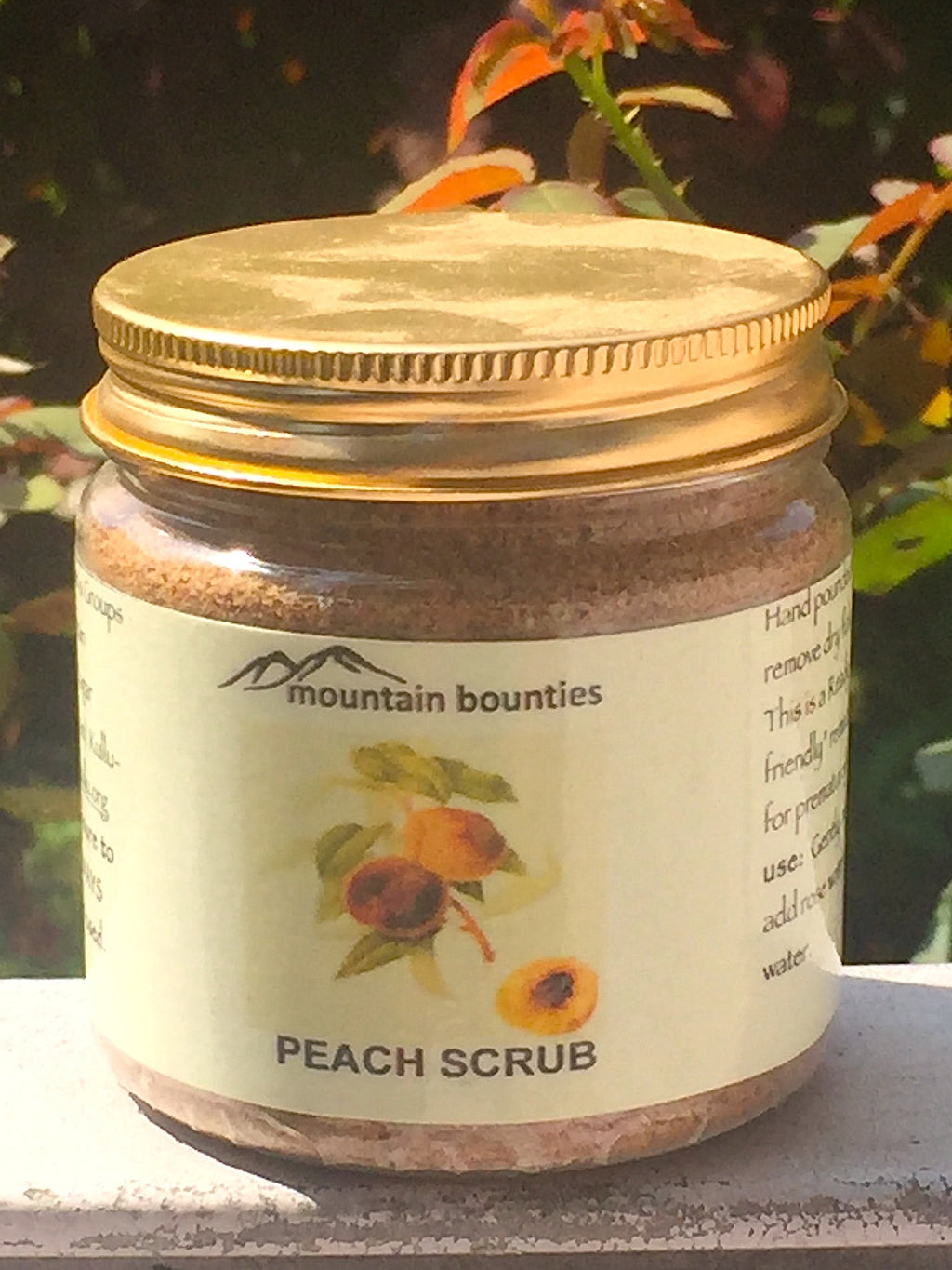 "Cold pressed, hand crafted from local flora in Himachal.  Hand pounded Peach kernel granules gently scrub the skin to remove dry flaky skin, and dead cells and balances skin moisture. This is a Ready to use exfoliant like traditional homemade ""skin friendly"" remedies. It has traces of peach oil, particularly beneficial for prematurely aged skin.  No chemicals, no preservatives."