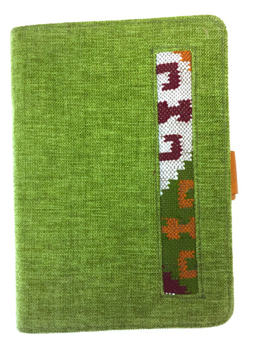 iPad mini cover Designer, stand and protection. Green with embroidered pattern. handmade. Hard shell.