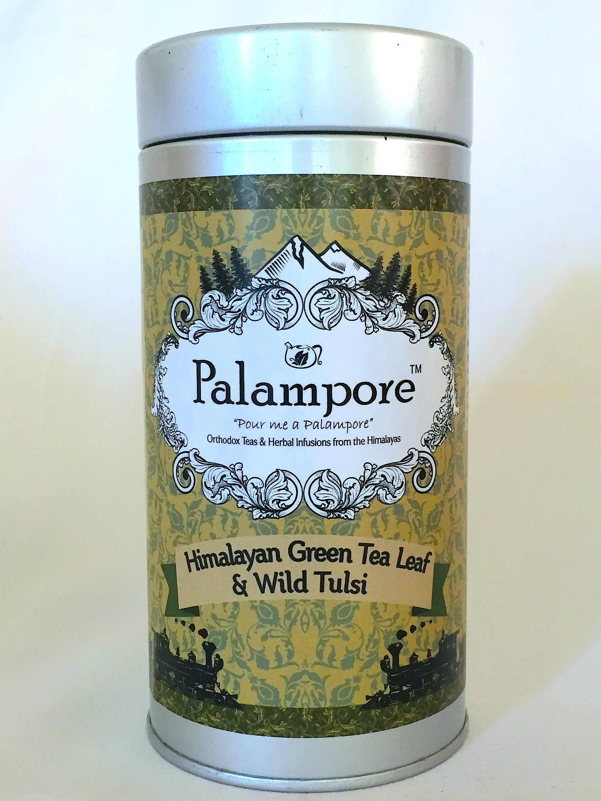 Wild Tulsi Green Tea. Himalayan Gourmet Green Teas, Long leaf, Whole leaf teas, Fruit flavoured. No Added Sugar