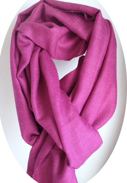 Angora Wool, Pink-Wild berry, Hand-loom made, Scarf