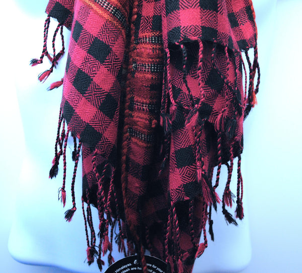 Pure 100% Lambswool designer, Rich Black & Strawberry Pink Check Shawl