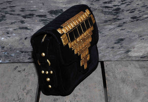 Hand Bag Small Studded Himalayan on Velvet