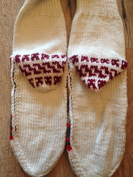 Woolen Socks, White with Christmas Colours