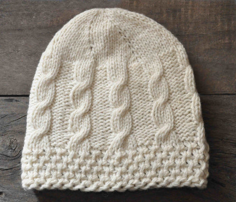 Woolen Cap: Lambswool White Unfolded