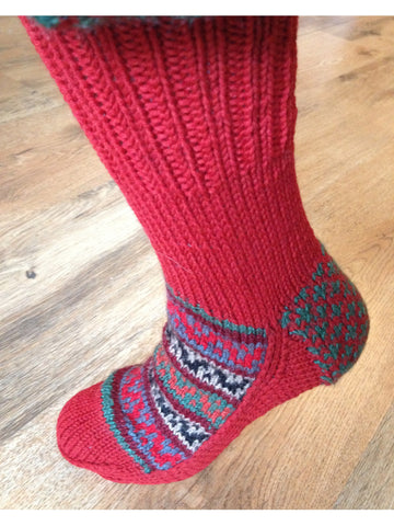 Woolen Socks, Christmas Red, Handmade