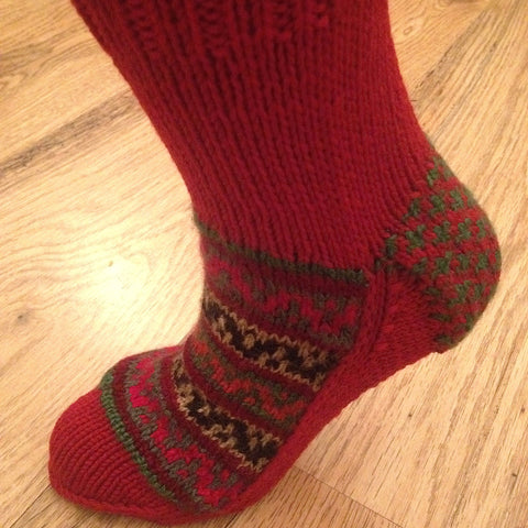 Woolen Socks, Red, Handmade, Xmas Collection